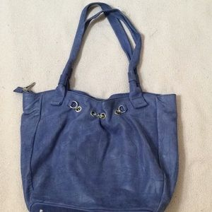 Arcadia Blue Suede Shoulder Bag